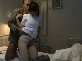 Japanese AV Model has pussy touched over stockings by patient