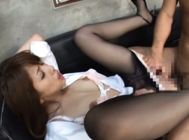 Japanese AV Model has some of her cans exposed while is drilled