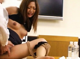 Japanese AV Model with legs over head is roughly undressed by man
