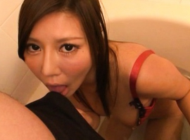 Japanese AV Model has big jugs out of bra and hairy labia spread