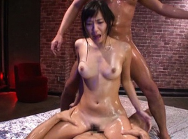 Nana Ogura Asian with oiled body is fucked in mouth and love box