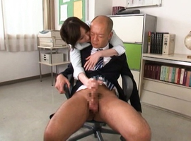 Yui Tatsumi Asian bites boss ear and touches his hard penis