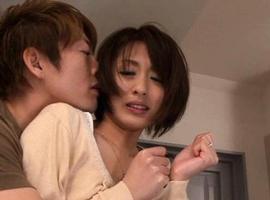 Yuuki Natsume Asian has one boob revealed while sucking boner