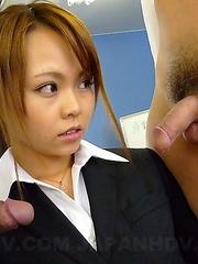 Horny Saki gets two amazing cocks
