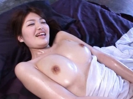 Azusa Akane Asian has round and oiled boobs touched by fellow
