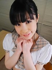 Mizutama Remon Asian in uniform licks and sucks dick so well