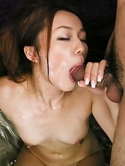 Sakura Hirota Asian gets dick in slit while licks another boner