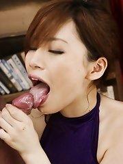 Keito Miyazawa Asian with fishnet stockings fucks her fish taco