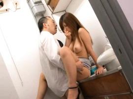 Haruki Sato Asian screams as is deeply fucked at office toilet