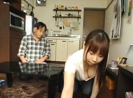 Japanese AV Model has man watching at her big boobs in blouse