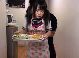 Japanese AV Model is rubbed on cunt while bringing the dinner