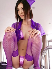Kotone Amamiya looks so hot in mauve kinky nurse uniform