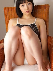 Kotone Moriyama rubs her vagina in bath suit of chair edge