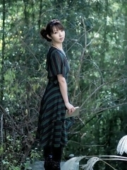 Neo in long dress goes to enjoy reading book in the forest