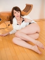 Horny and MILFy looking JAV idol Aya Kisaki takes on two foot fetishists